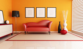 Orange and red living room Royalty Free Stock Image