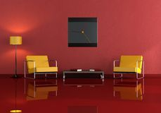 Orange and red living room Stock Photography