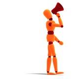 Orange / red  manikin announcing something Stock Photo