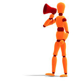 Orange / red  manikin announcing something Stock Images