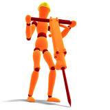 Orange / red  manikin as a worker with jackhammer Stock Photos
