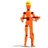 Orange / red  manikin as a worker with jackhammer Royalty Free Stock Photos