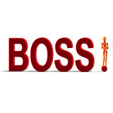 Orange and red manikin is the boss Royalty Free Stock Photo