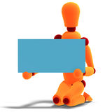 Orange / red  manikin holds a business card Stock Image