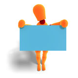 Orange / red  manikin holds a business card Royalty Free Stock Photos