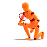 Orange / red  manikin looking through a magnifier Royalty Free Stock Photos