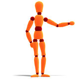 Orange and red manikin is pointing to something Stock Photography
