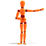 Orange and red manikin is pointing to something Royalty Free Stock Images