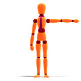 Orange and red manikin is pointing to something Royalty Free Stock Photography