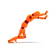 Orange / red manikin pushing someting. 3D rendering of a orange / red manikin pushing something with clipping path and shadow over white vector illustration