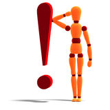 An orange red manikin standing behind an. 3D rendering of an orange red manikin standing behind an exclamation mark with clipping path and shadow over white Royalty Free Stock Photo