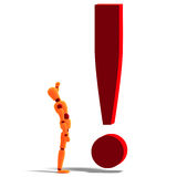 An orange red manikin standing by an exclamation Royalty Free Stock Photos