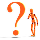 An orange red manikin standing by a question mark. 3D rendering of an orange red manikin standing by a question mark with clipping path and shadow over white Stock Photos