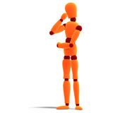 Orange / red  manikin thinking Stock Image