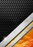 Orange Red and Metal Background with Grid. Orange, red black and gray abstract background with metallic grid and waves Royalty Free Stock Photos