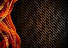 Orange Red and Metal Background with Grid Royalty Free Stock Images