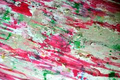 Red violet bright green silvery bright splashes, colorful vivid waxy colors, contrasts creative background. Orange red pink silvery bright blurred paint Stock Photos