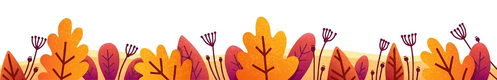 Orange, red and purple autumn leaves vector fall border for banners and posters.  stock illustration