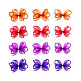 Orange Red Scarlet Purple Violet Lilac Gift Bows Different Shapes Stock Images