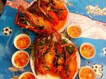 Orange-red shrimp food Thai Royalty Free Stock Photography