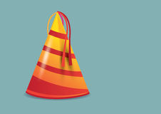 Orange and Red Stripes Party Hat Vector Illustration Royalty Free Stock Photography