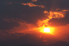 Orange and Red Sunset and Cloudscape Stock Photography