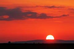Orange - red sunset over horizont.  Royalty Free Stock Images