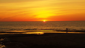 Orange and red sunset on sea Stock Photography