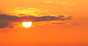 Orange - red sunset, sun with sky Stock Photography
