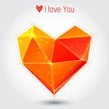 Orange and red triangle heart. Valentine's day illustration Stock Photography