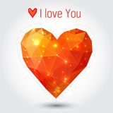 Orange and red triangle heart. Valentine's day illustration Royalty Free Stock Image