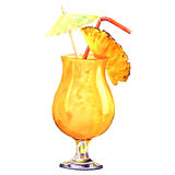 Orange refreshing cold cocktail with pineapple, isolated, watercolor illustration Stock Photo