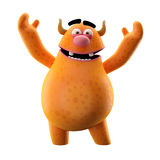 Orange rejoicing mascot Stock Photo