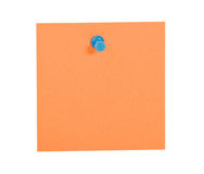 Orange reminder note with blue pin. On white background royalty free stock photos