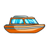 Orange rescue boat.Boat to rescue the drowning persons.Ship and water transport single icon in cartoon style vector Royalty Free Stock Images