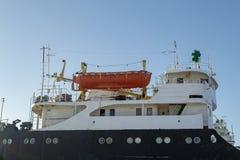 Orange rescue boat stock images