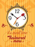 Orange restaurant menu with clock Stock Photo