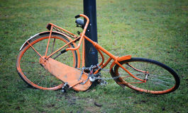 Orange retro bicycle Stock Photos