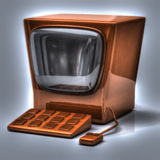 Orange retro computer Stock Photo