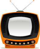Orange Retro- Fernsehen Stockfotografie