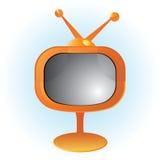 Orange Retro- Fernsehen Stockbilder