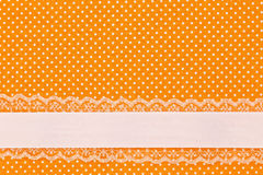 Orange retro polka dot textile Royalty Free Stock Photo