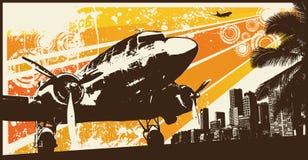 Orange Retro Propeller Bomber. Vector Illustration Royalty Free Stock Photo