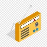 Orange retro radio receiver isometric icon Royalty Free Stock Images