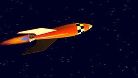Orange Retro- Spielzeugraketenschiff im Raum mit sich schnell bewegenden Sternen Animation 3D stock video
