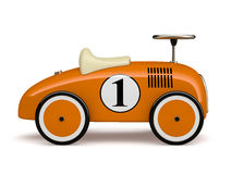 Orange retro toy car number one isolated on white background Stock Photo
