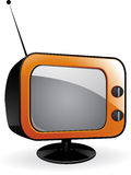 Orange retro tv Royalty Free Stock Image
