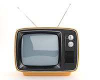 Orange retro TV_front view Royalty Free Stock Photos