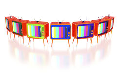 Orange retro tv's Royalty Free Stock Images