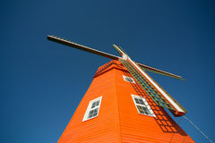 Orange retro windmill Royaltyfri Bild